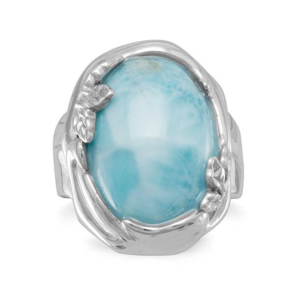 Larimar Gemstone with Leaf Design Sterling Silver Ring - deelytes-com