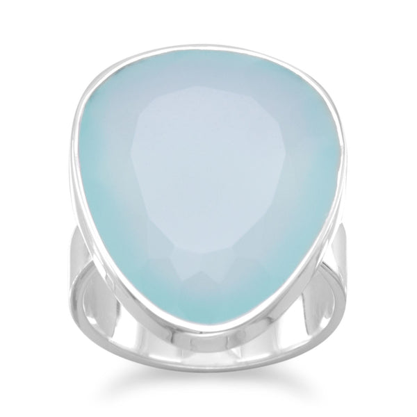 Free-form Sea Green Chalcedony Sterling Silver Ring - deelytes-com