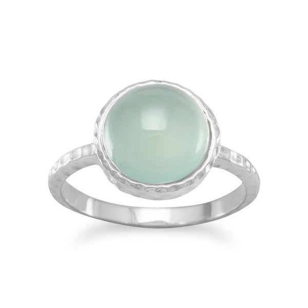 Cabochon Sea Green Chalcedony Sterling Silver Ring - deelytes-com