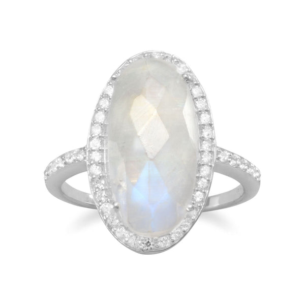 Sterling Silver Oval Rainbow Moonstone Cubic Zirconia Halo Ring - deelytes-com