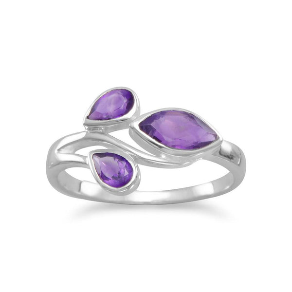 Pear and Marquise Amethyst Sterling Silver Ring - deelytes-com