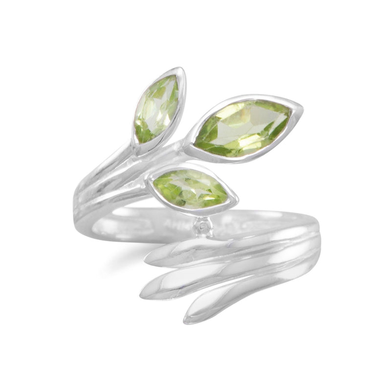 Fan Design Marquise Peridot Wrap Ring - deelytes-com