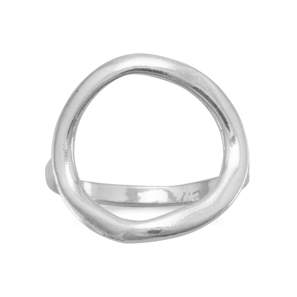 Sterling Silver Textured Open Circle Ring - deelytes-com