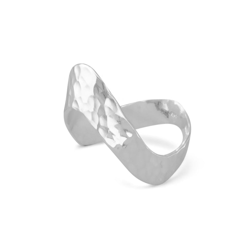 "Sterling Silver Hammered ""V"" Ring - deelytes-com"
