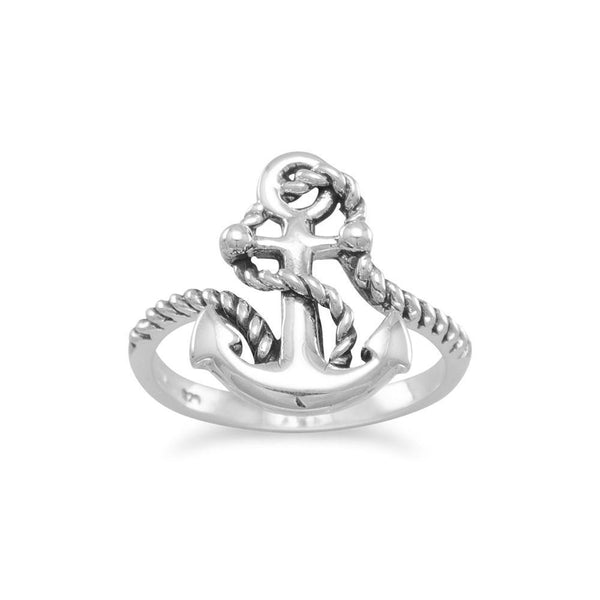 Rope and Anchor Sterling Silver Ring - deelytes-com
