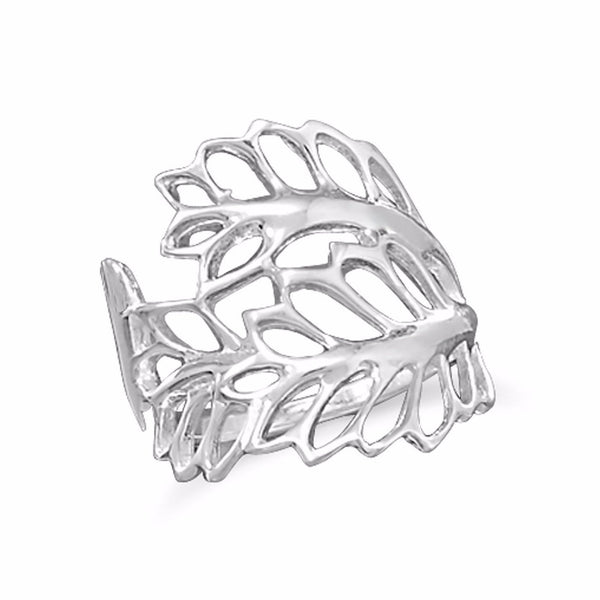 Cut Out Leaves Sterling Silver Ring - deelytes-com