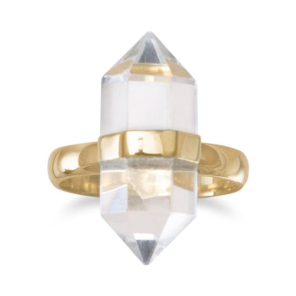 Gold Spike Pencil Cut Clear Quartz Ring - deelytes-com
