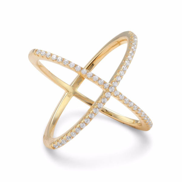 18 Karat Gold 'X' MOTIF Ring with Signity CZs - deelytes-com