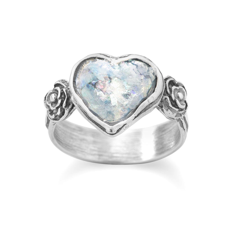 Roman Glass Heart Sterling Silver Ring - deelytes-com