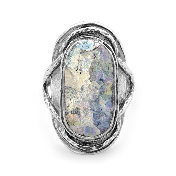 Oval Roman Glass Sterling Silver Ring - deelytes-com