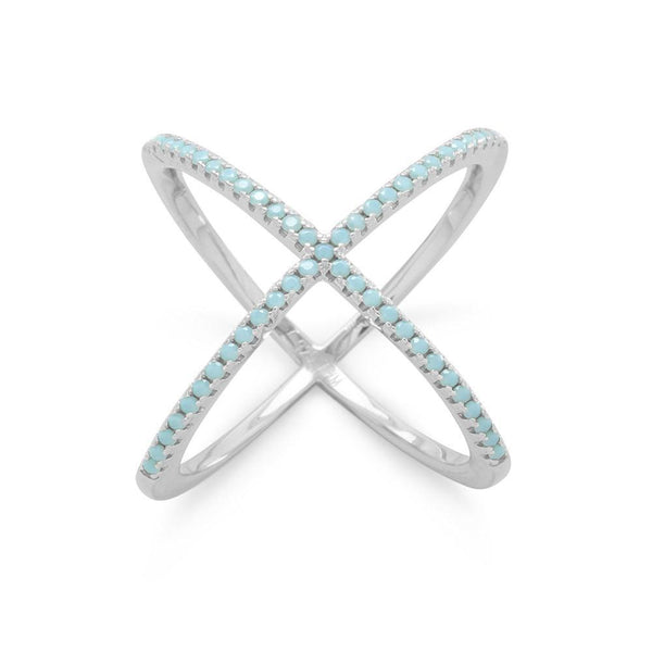 'X' MOTIF Ring with Blue CZs - deelytes-com