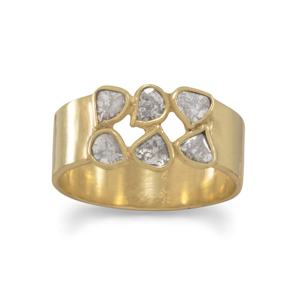 Gold Polki Diamond Ring - deelytes-com