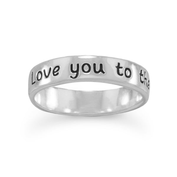 """Love you to the moon and back"" Sterling Silver Ring - deelytes-com"