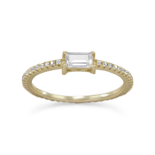 Gold Rectangle CZ Ring - deelytes-com