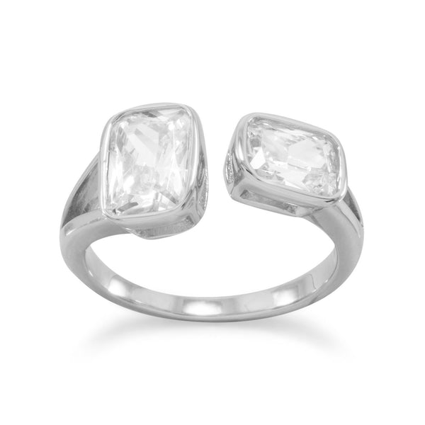 Sterling Silver CZ Split Design Ring - deelytes-com