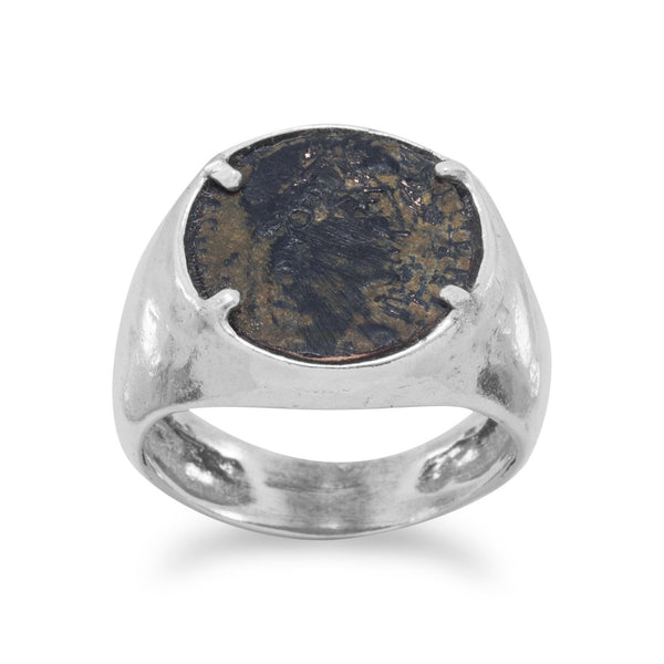 Ancient Roman Artifact Coin Sterling Silver Ring - deelytes-com
