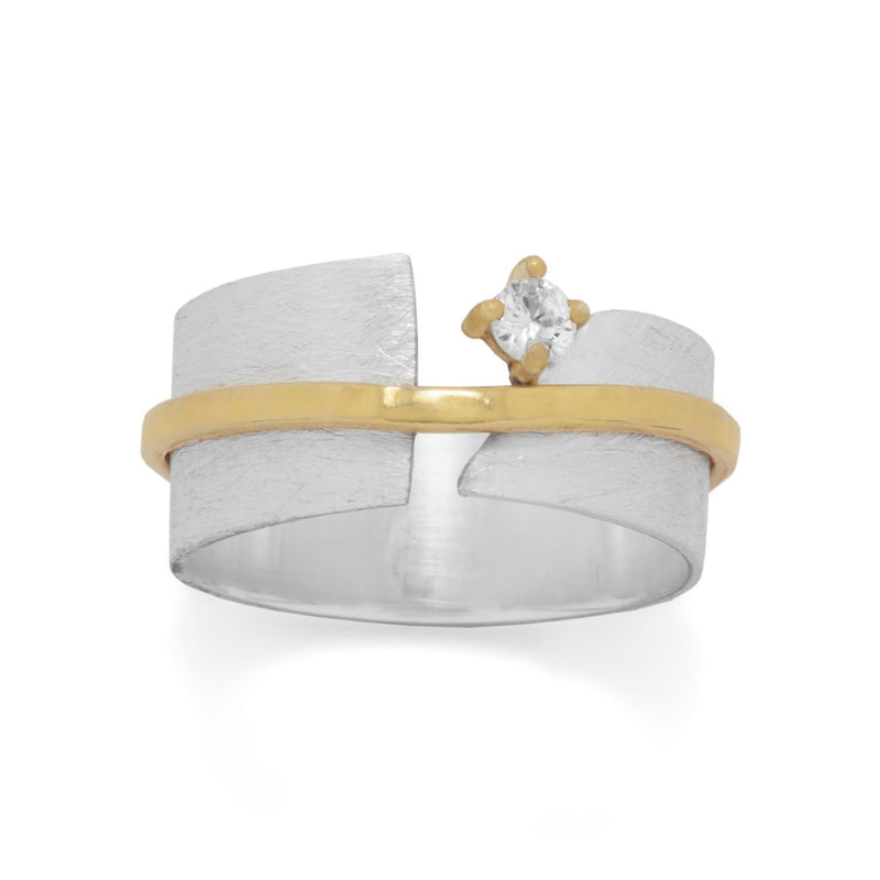 Two Tone Art Deco CZ Ring Sterling Silver & Gold - deelytes-com