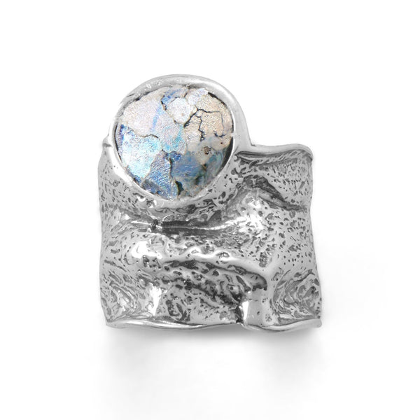 Sterling Silver Roman Glass Organic Crumple Effect Ring - deelytes-com