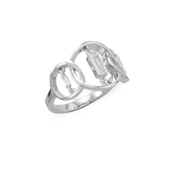 Sterling Silver Triple Circle Suspension CZ Ring - deelytes-com