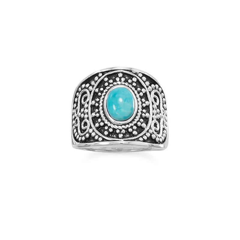 Sterling Silver Beaded Design Turquoise Ring - deelytes-com