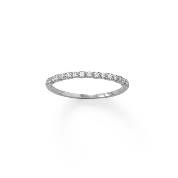 Sterling Silver Thin CZ Ring - deelytes-com