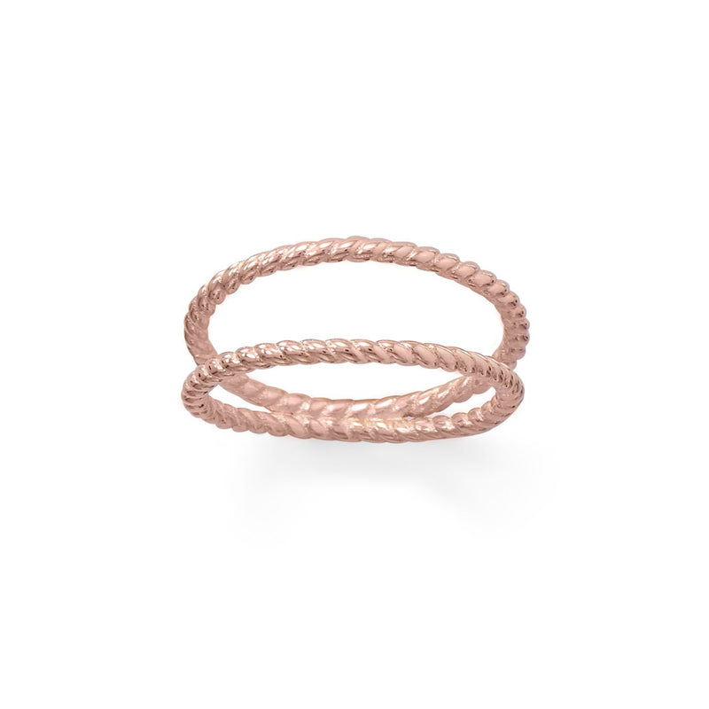 14 Karat Rose Gold Rope Twist Double Band Ring - deelytes-com