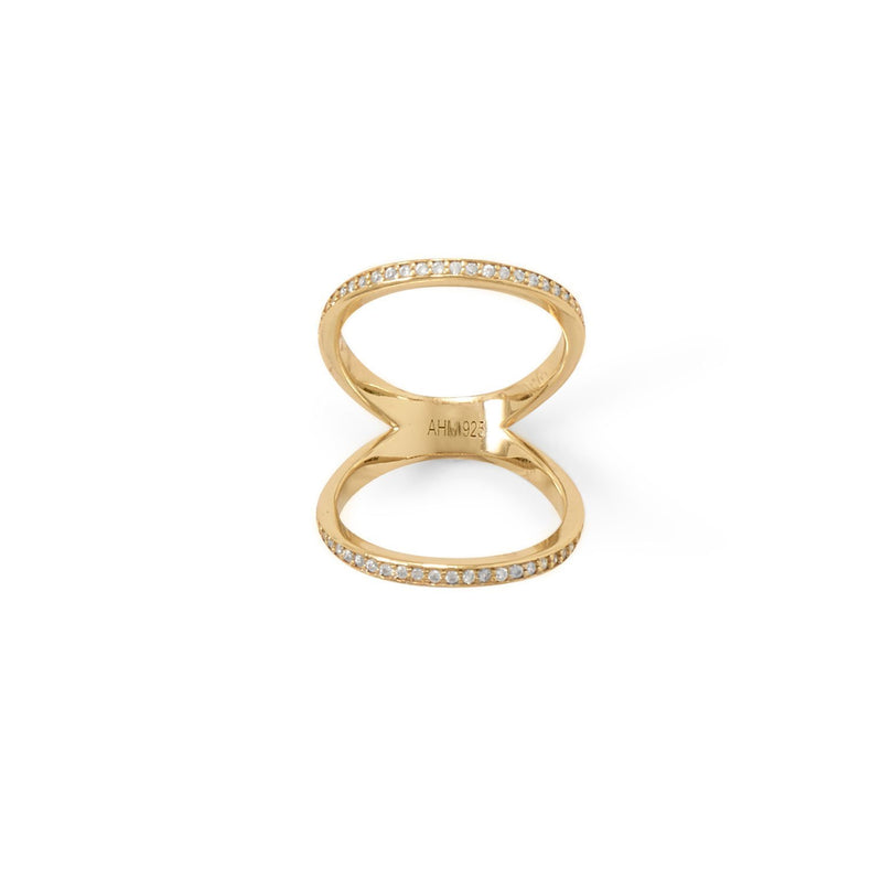 Gold CZ Double Band Knuckle Ring - deelytes-com