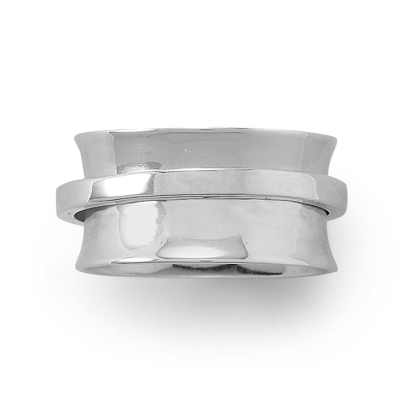 Sterling Silver Polished Spin Ring - deelytes-com