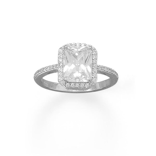 Sterling Silver Cushion CZ Ring with CZ Edge - deelytes-com