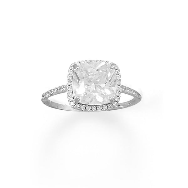 Sterling Silver Square CZ Ring with CZ Edge - deelytes-com