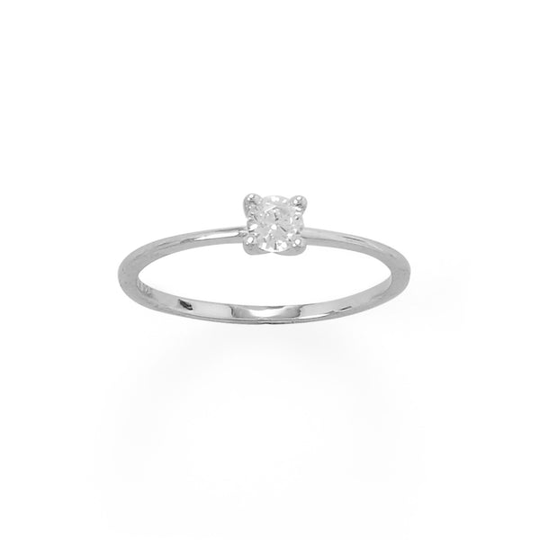 Sterling Silver 4mm CZ Band Ring - deelytes-com