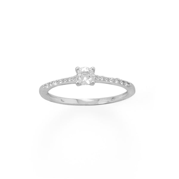 4mm CZ with Sterling Silver CZ Band Ring - deelytes-com