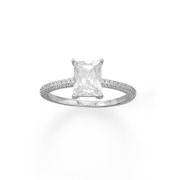 Sterling Silver Baguette Cut CZ Ring with CZ Band - deelytes-com