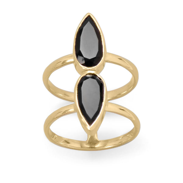 14K Gold Tone Double Pear Onyx Ring - deelytes-com