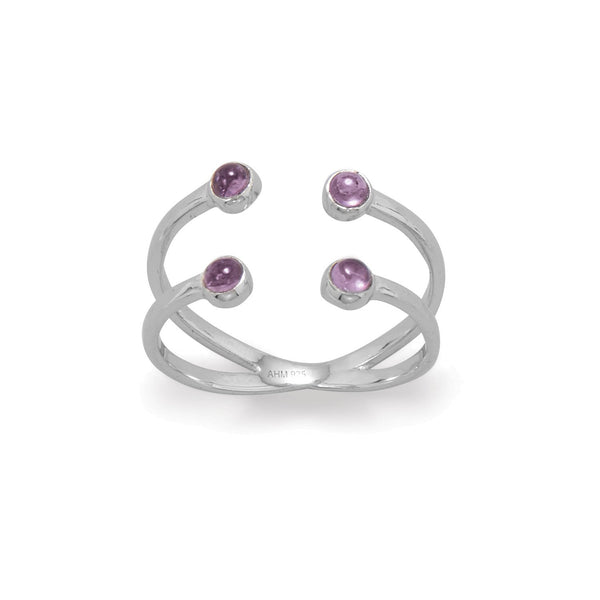Sterling Silver Amethyst Split Design Ring - deelytes-com