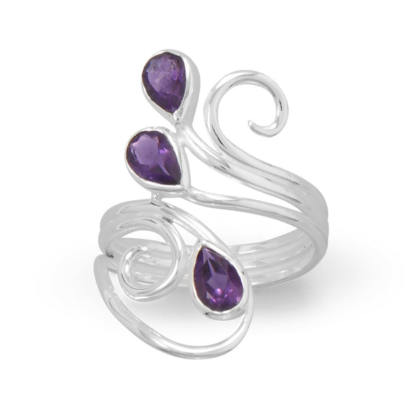 Polished Scroll Design Amethyst Ring - deelytes-com