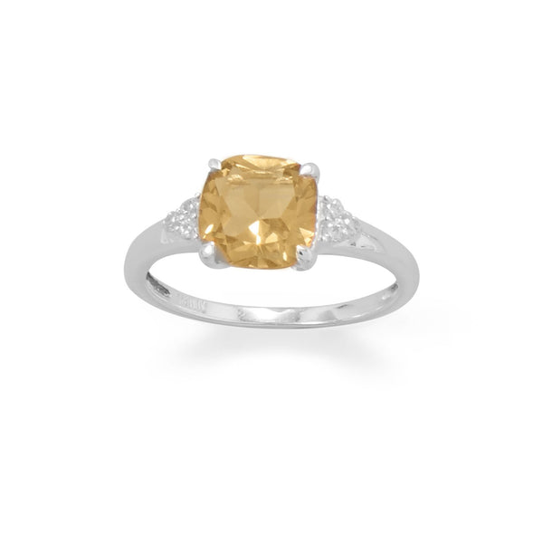 Sterling Silver Citrine and CZ Band Ring - deelytes-com