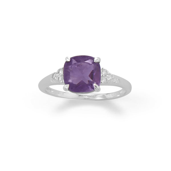 Sterling Silver Amethyst and CZ Band Ring - deelytes-com