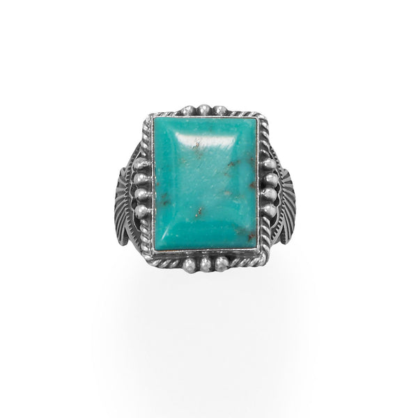 Michael Calladitto Navajo Men's Stabilized Turquoise Ring Sterling Silver - deelytes-com