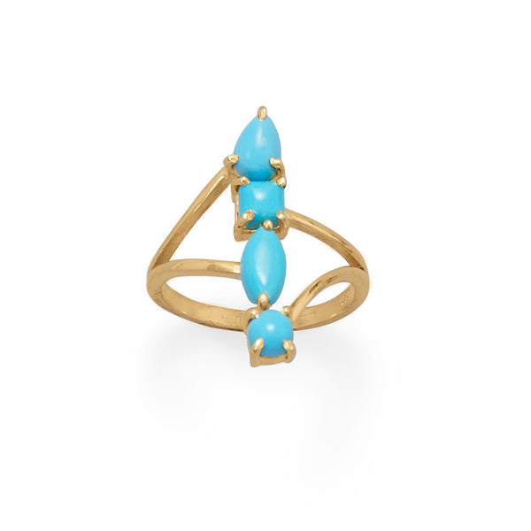 14 Karat Gold Stacked Synthetic Turquoise Ring - deelytes-com
