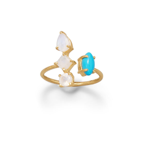 Rainbow Moonstone and Synthetic Turnquoise Wrap Ring - deelytes-com