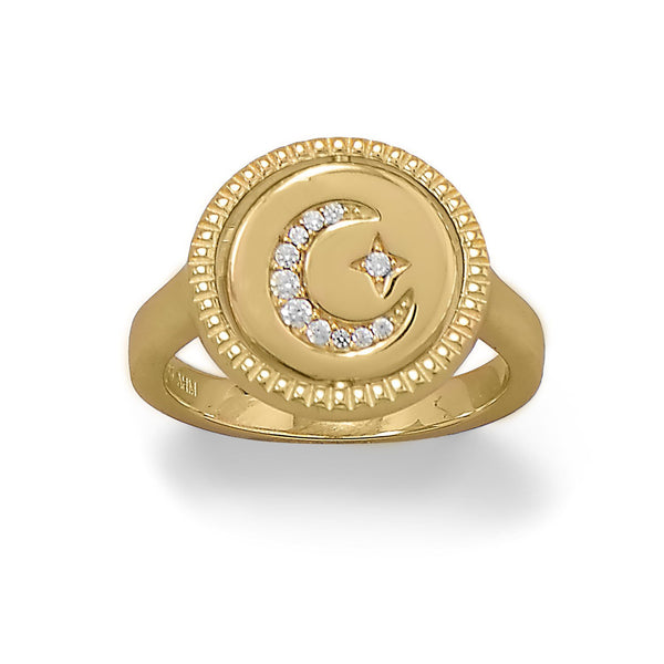 Reversible CZ Star and Moon Ring - deelytes-com