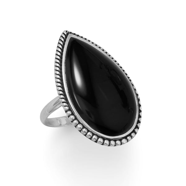 Large Black Onyx with Beaded Edge Ring - deelytes-com