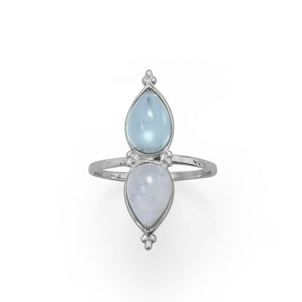 Pear Shaped Rainbow Moonstone and Blue Topaz Ring - deelytes-com