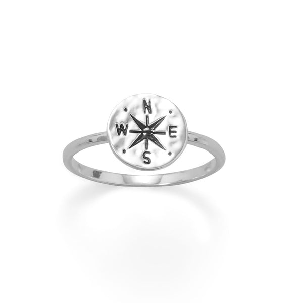 Keep It Moving! Hammered Compass Ring - deelytes-com