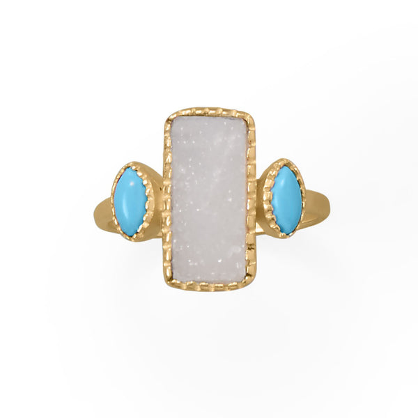 14K Yellow Gold-Plated Sterling Silver White Druzy And Synthetic Turquoise Ring Rings