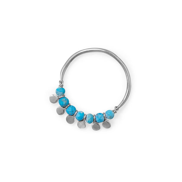 Sterling Silver Synthetic Turquoise Bead And Disk Ring Rings