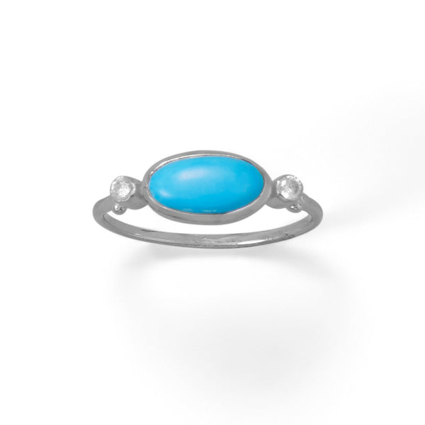 Sterling Silveroval Synthetic Turquoise And Cz Ring Rings