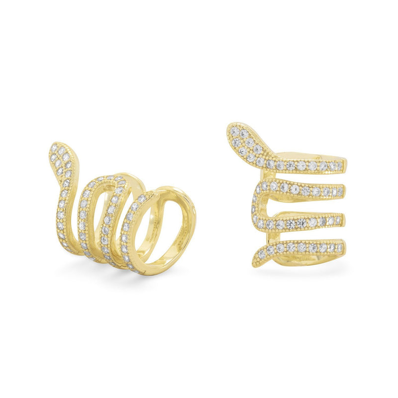 Gold Snake Ear Cuffs with Signity CZs Earrings - deelytes-com
