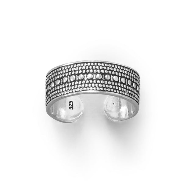 Sterling Silver Antiqued Bead Design Toe Ring - deelytes-com